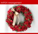 完売必至 クリスマスリース 造花 40cm W-169 壁掛け リース ポインセチア アートフラワー シルクフラワー クリスマス