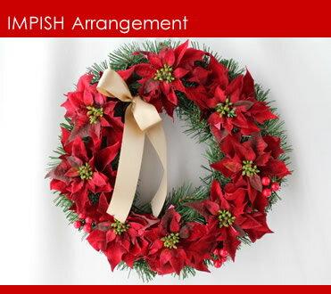 完売必至 クリスマスリース 造花 40cm W-169 壁掛け リース ポインセチア アートフラワー シルク...