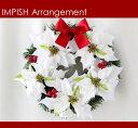 完売必至 32cm 高級造花 クリスマスリース 人気 豪華 W-293 壁掛け x'masリース リース ポインセチア 造花 アートフラワー クリスマス 玄関