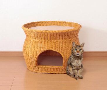 天然籐 籐製 ラタン キャット ハウス 2段ベッドタイプ(猫小屋 猫ベッド)