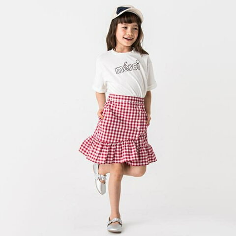 プティマイン(petit main)裾フリル切り替えギンガムチェック柄スカート