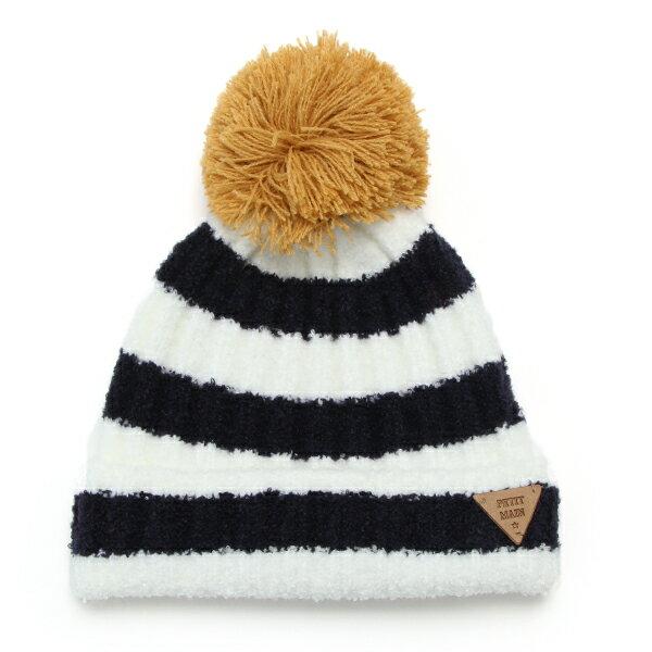 【新生児向けサイズ】もこもこ配色ボーダーニット帽プティマイン(petit main)