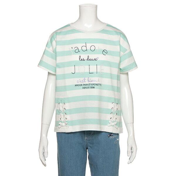 ポンポネットジュニア(pom ponette junior)裾レースアップボーダーTシャツ