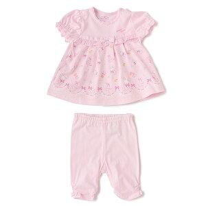 bd1a55b5bb1ca メゾピアノ(mezzo piano)ウサギ柄スーツセット □新生児□AラインTシャツとパンツを組み合わせたスーツセットです。やさしいタッチのウサギプリントや裾周りのレース柄  ...