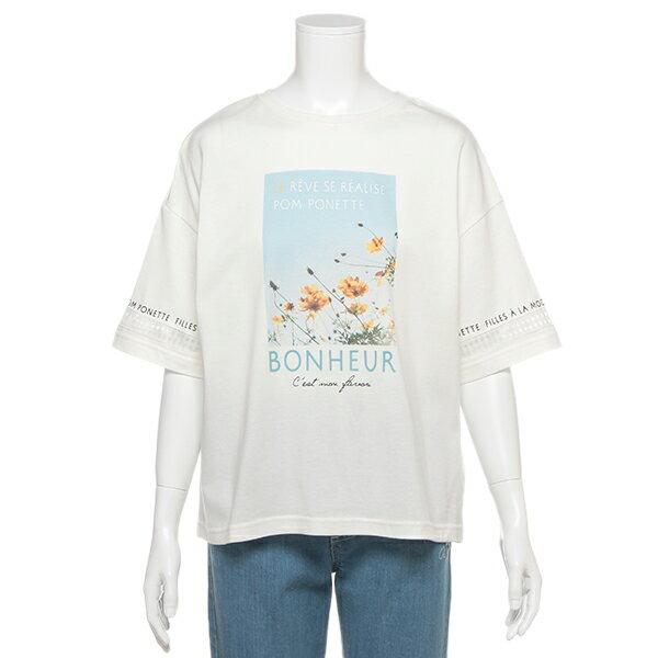 ポンポネットジュニア(pom ponette junior)袖ラインフォトTシャツ