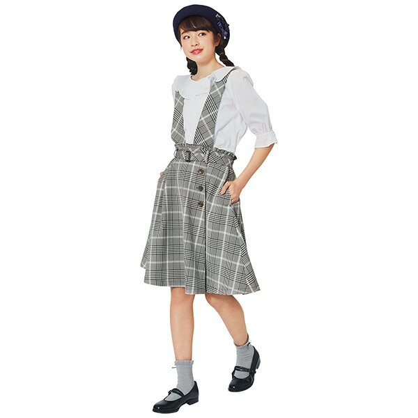 ポンポネットジュニア(pom ponette junior)サスペンダーつきトレンチ風スカート