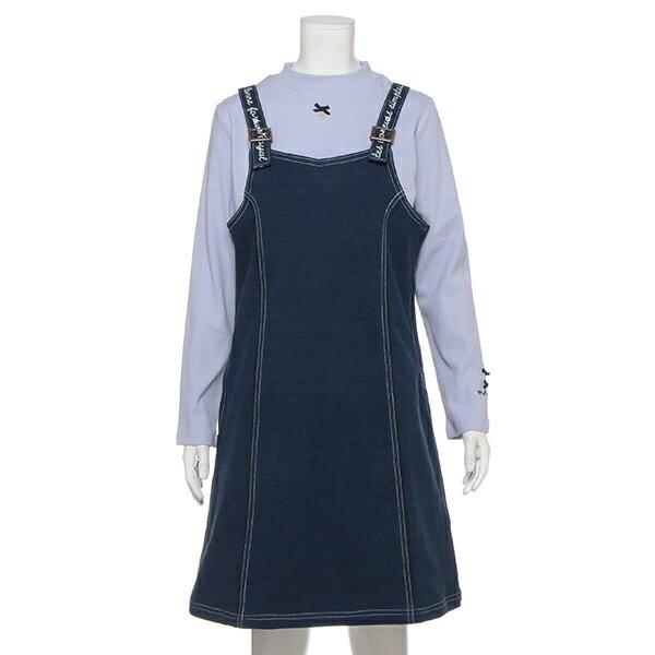 ポンポネットジュニア(pom ponette junior)ハイネックリブTシャツ×肩ベルトワンピースセット