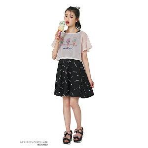 メゾピアノジュニア(mezzo piano junior)【サーティワン アイスクリームコラボ】 透けTシャツ×総柄リボンワンピースセット