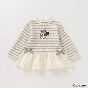 プティマイン(petit main)【DISNEY】 裏起毛 ミニーマウスデザイン フリルつきペプラムTシャツ