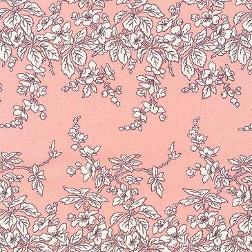 一重のバラ 花柄 フランス復刻 5417-27 LIGHT SALMON PINK ライトサーモンピンク fleurir rose flower フラワー ボタニカル 生地 布 ローズ 薔薇柄 生成り オックス 生地 綿100% 110cm幅 カルトナージュ生地 nassen