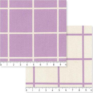 3.8cmピッチ ラインチェック柄 7911-30 ラベンダー スッキリしたラインチェック柄 紫 パープル バイオレット かわいい ダマスク 10cm単位 やや厚手 生成りオックス生地 綿100% 110cm 布 入園入学 エプロン バッグ クッション ランチョンマット カルトナージュ生地 商用