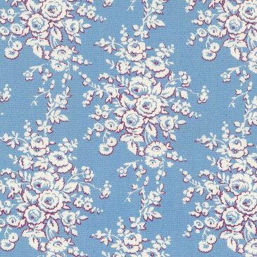 バラ 花柄 5418-49 スカイブルー  10cm単位 切り売り 生成りオックス生地 綿100% 110cm 布