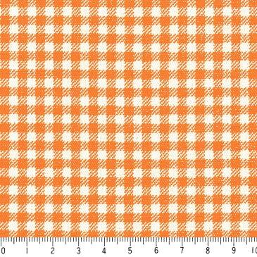 ギンガム 3.5ミリ 3139-54 オレンジ ギンガムチェック柄 生地 10cm単位 やや厚手 生成りオックス生地 綿100% 110cm 布