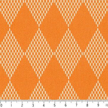ダイヤ柄 7869-54 オレンジ 菱形模様のハーリキンチェック ピエロの市松模様 10cm単位 やや厚手 生成りオックス生地 綿100% 110cm 布 クッション エプロン バッグ カルトナージュ生地 手芸 手作り生地 付属 用途