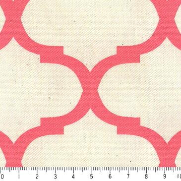 モロッカン柄 大8.5cmポジ 7432-56 CORAL PINK コーラルピンク moroccan posi 8.5センチ 生地 布 生成り オックス 生地 綿100% 110cm幅 カルトナージュ生地 nassen
