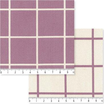 3.8cmピッチ ラインチェック柄 7911-60 パープル スッキリしたラインチェック柄 紫 パープル 10cm単位 やや厚手 生成りオックス生地 綿100% 110cm 布 入園入学 エプロン バッグ クッション ランチョンマット カルトナージュ生地 商用利用可 生地