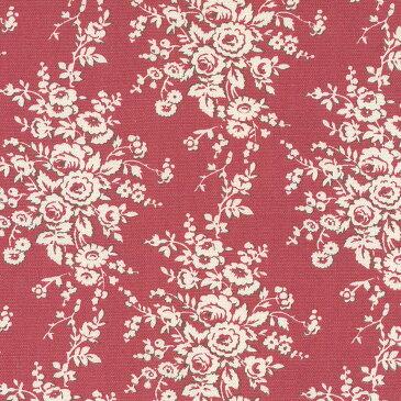 バラ 花柄 フランス復刻 5418-69 ENGLISH RED イングリッシュレッド fleurir rose flower フラワー ボタニカル コットン生地 布 ローズ 薔薇柄 生成り オックス 生地 綿100% 110cm幅 カルトナージュ生地 nassen