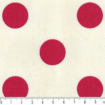 水玉ドット 25ミリ 5841-70 レッド 2.5センチ ドット 中サイズ 10cm単位 やや厚手 生成りオックス生地 綿100% 110cm 布 カルトナージュ クロス クッション エプロン バッグ ハンドメイド 付属 用途 生地