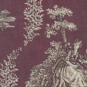 トワルドジュイ柄 7941-mh M.H.collection classique toile de jouy 生地 布 綿100% 生成りオックス生地 カルトナージュ