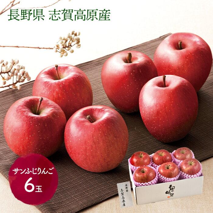 送料無料 長野県志賀高原産 サンふじりんご 6玉 SN6003-010028 リンゴ フルーツ 2020 青果 くだもの 果物 お取り寄せ 特産 お祝い 詰め合わせ おすすめ 実用的 誕生日 記念日 内祝い お礼