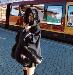 【即納】「フェミニンにブラックを」この1着があればと思うファーコート2019秋冬nalo8010