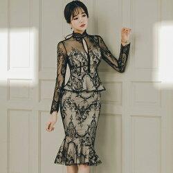 【即納】「☆品良くセクシーに☆」レースのセットアップドレス2018秋冬春nalo8130