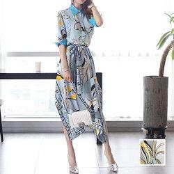 韓国ファッションレディース韓国パーティードレスお呼ばれワンピース夏春パーティーブライダル【即納】naloF023リゾートワンピースハワイスカーフ柄ターンオフカフスイレギュラーヘお呼ばれコーデ結婚式二次会セレブセクシー20代30代きれいめ2019