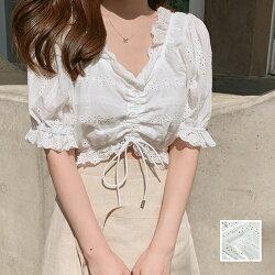 【即納】韓国ファッションレディーストップスブラウスシャツ夏春カジュアルnaloF945パンチングレーススカラップVネックフリルギャザーガーリー韓国オルチャンファッションコーデシンプル定番セレカジ20代30代40代きれいめ2020
