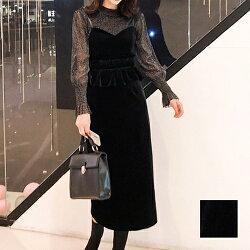 【即納】韓国ファッションレディースセットアップ秋冬春パーティーブライダルnaloG154シースルーペプラムタイトキャミワンピースお呼ばれコーデ結婚式二次会セレブセクシー20代30代きれいめ2019