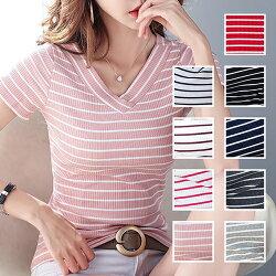 韓国ファッションレディーストップスTシャツカットソー夏春カジュアルお取り寄せnaloH736マリンテイストベーシックボーダー着回し韓国オルチャンファッションコーデシンプル定番セレカジ20代30代40代きれいめ2020
