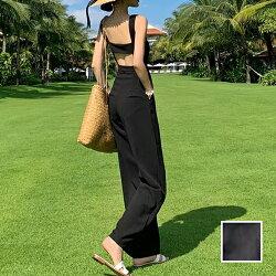 韓国ファッションレディースオールインワンサロペット夏春リゾートパーティーnaloH869カットオフ背中見せワイドパンツフェミニンお呼ばれ韓国オルチャンファッションコーデセレブセクシー20代30代きれいめ2020