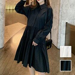 韓国ファッションレディースワンピース夏春秋カジュアルお取り寄せnaloI149ティアードドレープギャザーゆったり韓国オルチャンファッションコーデシンプル定番セレカジ20代30代40代きれいめ2020