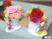 プリザーブドフラワーディズニーキャラクターミッキー&ミニーアレンジ花束とケーキ誕生祝い、母の日、父の日、敬老の日