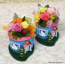 プリザーブドフラワームーミンキャラクターアレンジムーミンとスナフキン誕生祝い、母の日、父の日、敬老の日、結婚祝い