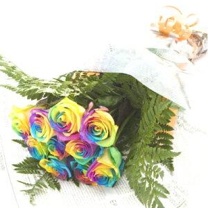 レインボーカラーのバラの花束