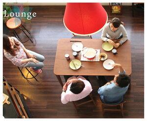 【送料無料】Lounge-ラウンジ-ダイニング5点セット(ダイニングチェア、4脚、ダイニングテーブル、長方形、4人掛け、ウォールナット、ブラウン、茶色、生地張り、天然木、幅140cm、高さ70cm、新生活、食卓、北欧、おしゃれ、木製、天板角丸い)