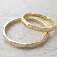 Paripassu結婚指輪マリッジリングペアリング刻印無料偶数号シルバーつや消しゴールドカットリング表面加工細身華奢レディースメンズ結婚記念日プレゼント指輪プロポーズ