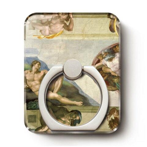 スマホリング ミケランジェロ アダムの想像 iPadmini スマホリング おしゃれ バンカーリング クリアケース取付 iPhoneXSmax