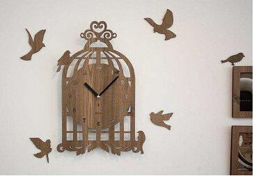見ているだけで癒されます! デザイン壁掛け時計 【Bird House】 鳥かご(ライトブラウン)