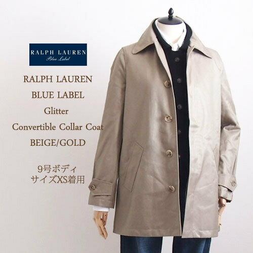 【SALE】【BLUE LABEL by Ralph Lauren】ラルフローレン ブルーレーベル グリッター ステンカラーコート/BEIGE・GOLD【あす楽対応】:NAVIE