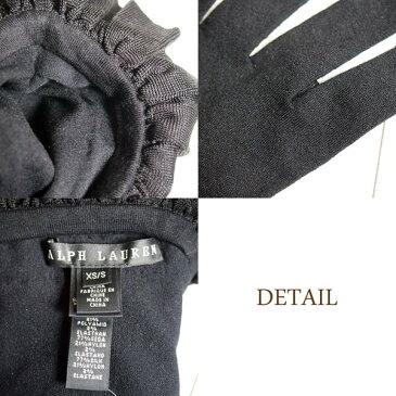 【SALE】【BLACK LABEL by Ralph Lauren】ラルフローレン ブラックレーベル シルク フリル ロンググローブ 手袋/BLACK【あす楽対応】