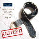 【SALE】【OUTLET】【BLUE LABEL by Ralph Lauren】 ラルフローレン ウォッシュ リネン リングベルト