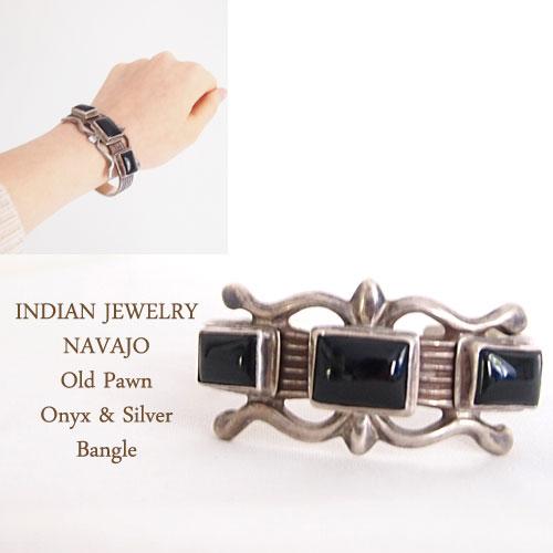 【INDIAN JEWELRY】インディアン ジュエリー NAVAJO ナバホ オニキス&シルバー バングル:NAVIE