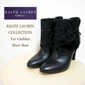 【RalphLaurenCollection】ラルフローレンコレクションファーレザーショートブーツ/BLACK【あす楽対応】