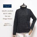 【BLUELABELbyRalphLauren】ブルーレーベルミックスウールハイネックデザインセーター/BLACK【あす楽対応】