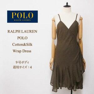 OUTLET बिक्री राल्फ लॉरेन पोलो देवियों कपास रेशम लपेटें पोशाक / राल्फ लॉरेन पोशाक द्वारा ग्रीन पोलो