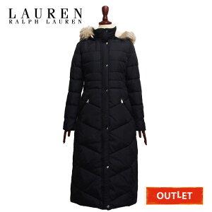 [Difficult Outlet] Ralph Lauren Lauren Ladies Boa & Fur Long Down Coat/Black