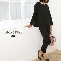 【18SSコレクション】MICA&DEAL〔マイカアンドディール〕D14A0013クルーネックバックタックブラウス×パンツセットアップ