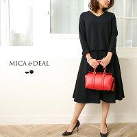 【18SSコレクション】MICA&DEAL〔マイカアンドディール〕M18A051Vネックブラウス×フレアスカートセットアップ