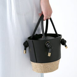 【21SSコレクション】,VIOLAd'ORO〔ヴィオラドーロ〕,V-8433,レザー×アバカバケツ型ハンドバッグ
